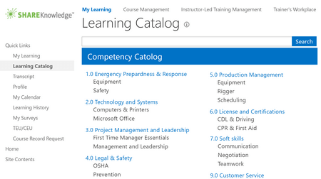 Learning Content Catalog - ShareKnowledge