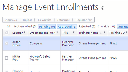 Enrollment Requests for Training Sessions, Wait Lists - ShareKnowledge